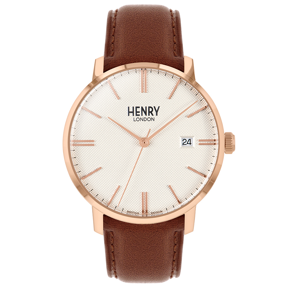 Henry London 英式簡約真皮手錶-米X玫瑰金框X棕/40mm