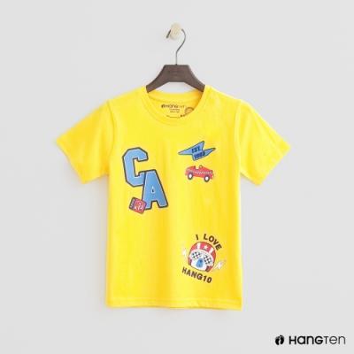 Hang Ten -童裝 - 有機棉-純色logo汽車印花圖樣T - 黃