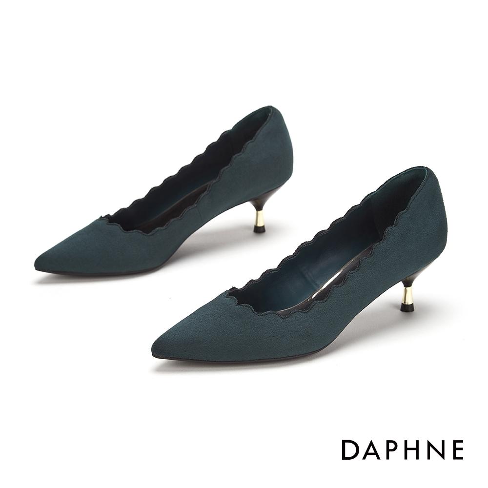 達芙妮DAPHNE  跟鞋-波浪剪裁金屬拚接尖頭跟鞋-綠