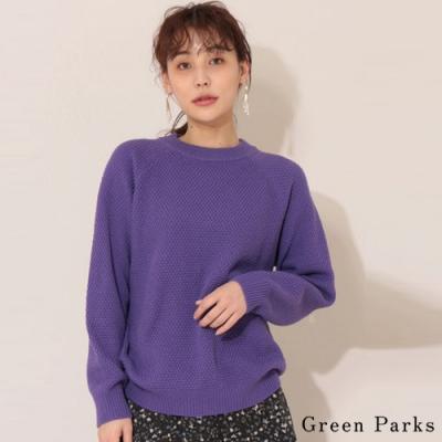 Green Parks 編織感圓領素面針織上衣