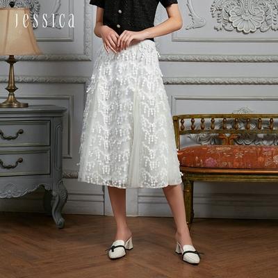 JESSICA - 氣質飄逸雙層蕾絲長紗裙(白色)