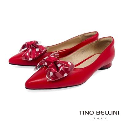 Tino Bellini 俏麗大蝴蝶結尖頭低跟娃娃鞋_紅