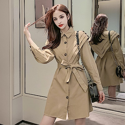 DABI 韓系西裝方領V型紐扣裝飾淑女收腰長袖洋裝