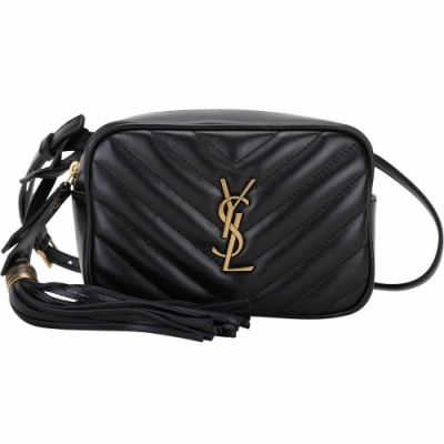 YSL Saint Laurent LOU 金字小牛皮流蘇肩背包/腰包(黑色)