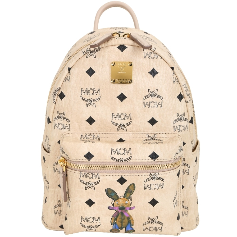 MCM Stark Rabbit 迷你款 兔子印花品牌塗層帆布後背包(米色)