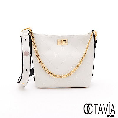 OCTAVIA 8 - 黃金1+1 菱格雙鍊帶肩斜水桶淑女肩包包 - 驚豔白