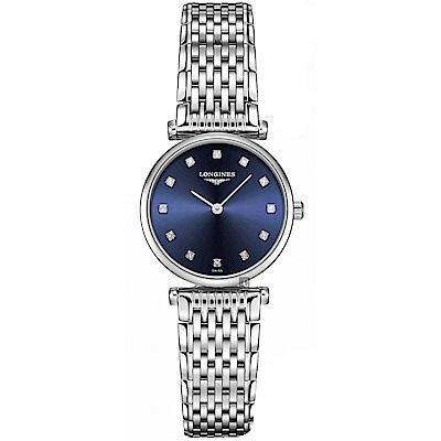 LONGINES 浪琴 La Grande 嘉嵐系列真鑽石英女錶-藍x銀/24mm
