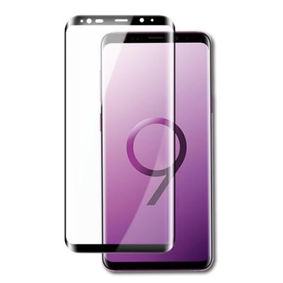 三星 Galaxy S9+ 全膠貼合 絲印 曲面黑色 9H 鋼化玻璃膜