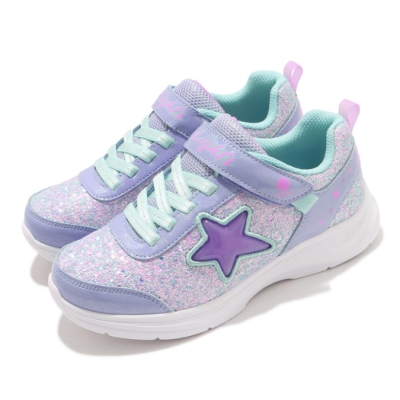 Skechers 休閒鞋 S Light-Glimmer Kicks 童鞋 星星 魔鬼氈 發光 閃燈 小朋友 藍 紫 302310LLVAQ