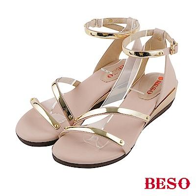 BESO 夏豔狂放 金屬飾釦繚繞楔型涼鞋~粉