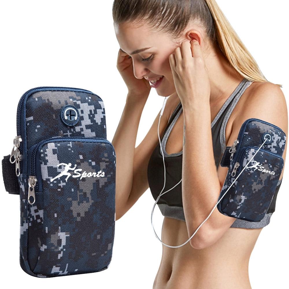 活力揚邑  防潑水透氣排汗Sport手機臂包耳機孔臂帶跑步運動臂袋臂套7.5吋-黑