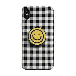 【TOYSELECT】iPhone XR 格紋笑臉氣囊支架手機殼:黑白