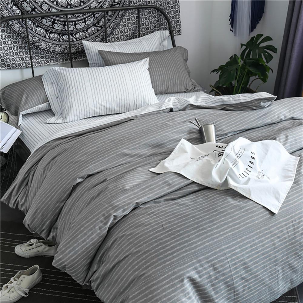 BUNNY LIFE 拾光灰-雙人-北歐都會精梳純棉床包被套組