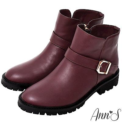 Ann'S側V短筒小惡魔短靴-酒紅