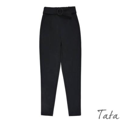 腰綁帶素色西裝褲 TATA-(S~L)