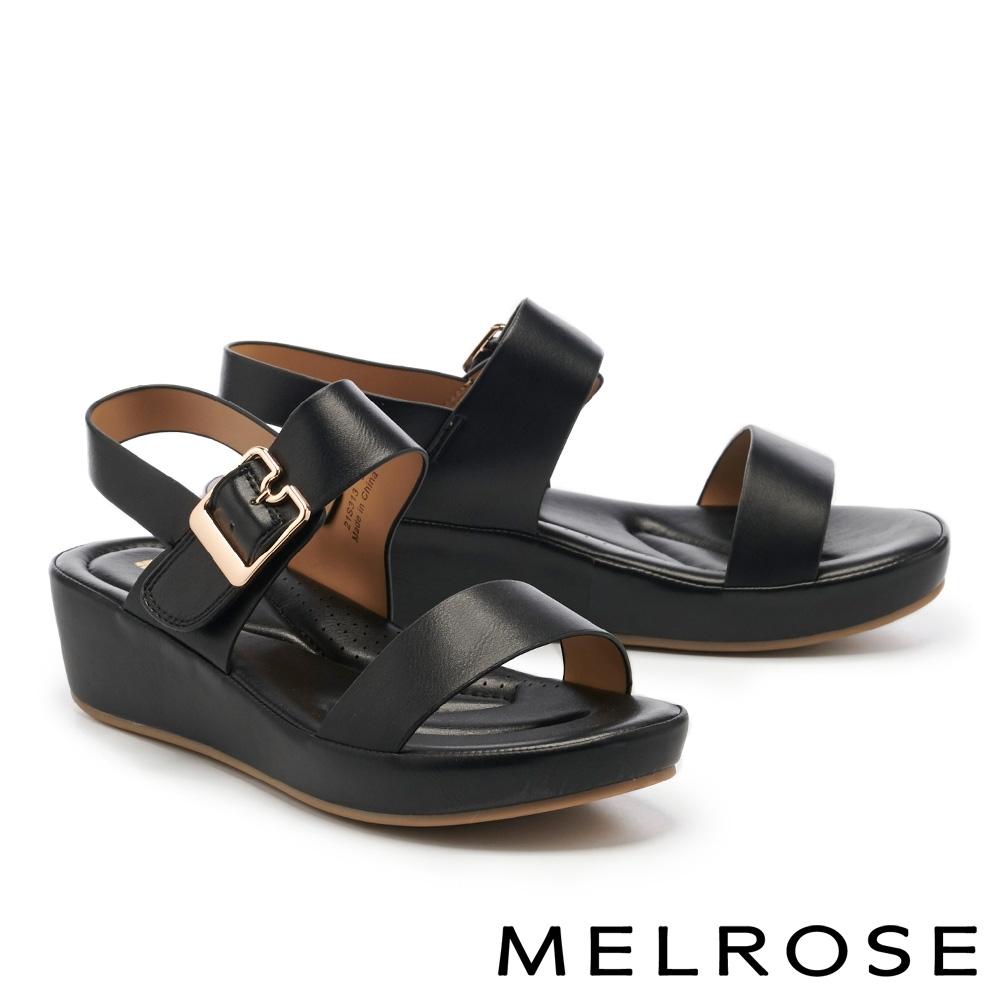 涼鞋 MELROSE 極簡時尚一字繫帶楔型涼鞋-黑