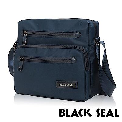 福利品 BLACK SEAL 經典休旅系列 多隔層收納休閒橫式斜背/側背包-午夜藍