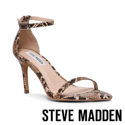 STEVE MADDEN-SCOPED 女神等級一字後繫帶高跟涼鞋-蛇皮咖