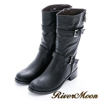 River&Moon加大尺碼-率性斜拉鏈雙扣環中統騎士靴-黑