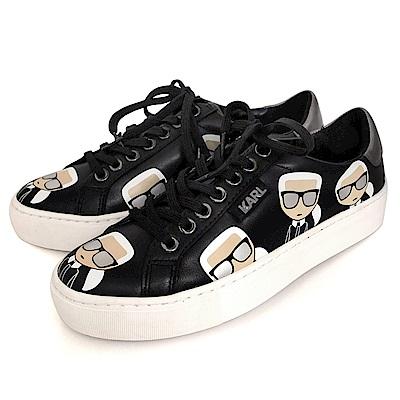 KARL LAGERFELD Q版卡通滿版卡爾圖案綁帶女款休閒鞋 (黑色)
