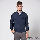 Nautica立領拉鍊長袖恆溫針織衣-深藍
