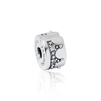 Pandora 潘朵拉  魅力耀眼皇冠鑲鋯 夾扣式純銀墜飾 串珠