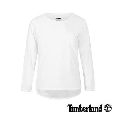 Timberland 女款白色品牌LOGO休閒長袖T恤|B3501