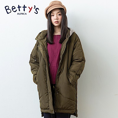 betty's貝蒂思 帽子拼接長版鋪棉大衣(深綠)