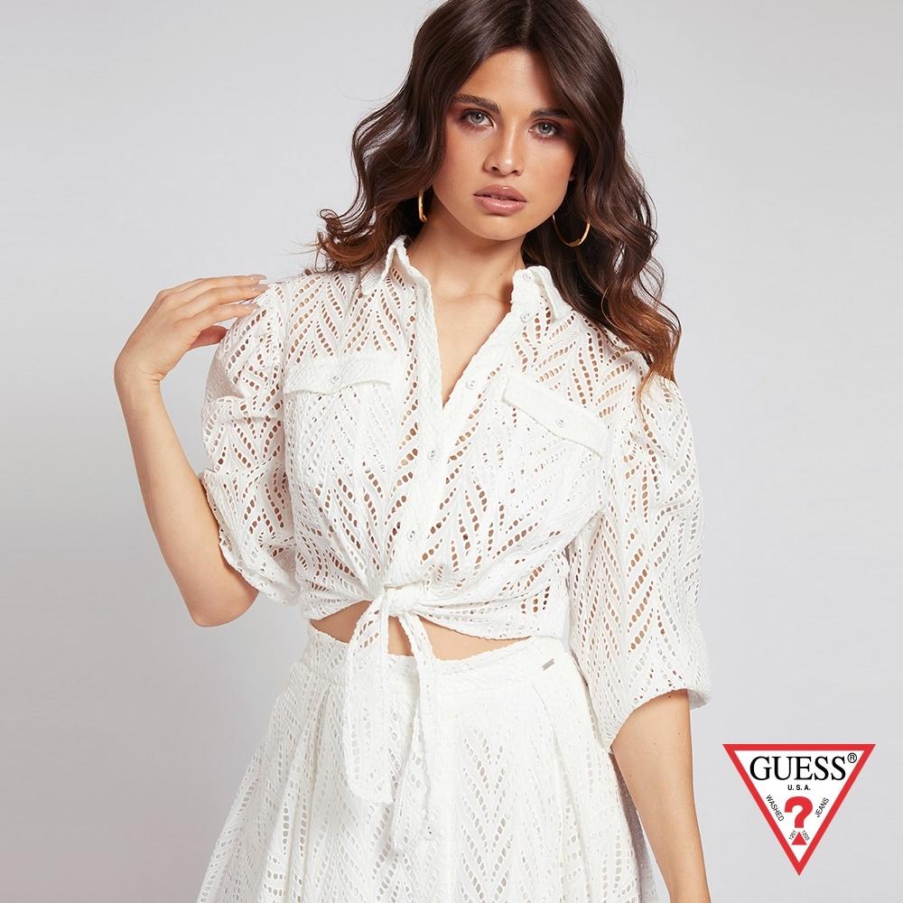 GUESS-女裝-氣質簍空蕾絲綁帶七分袖襯衫-白 原價1990