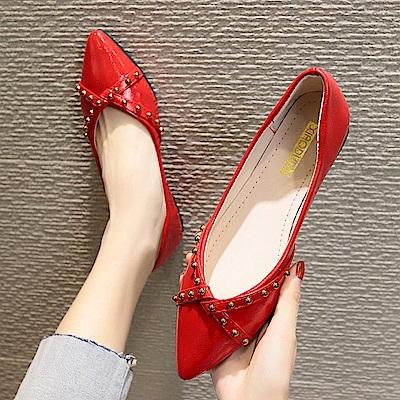 KEITH-WILL時尚鞋館 瘋搶簡單有型平底鞋-紅色