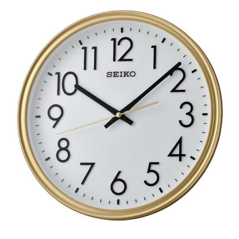 SEIKO 日本精工 滑動式秒針掛鐘(QXA736G)金框/31cm