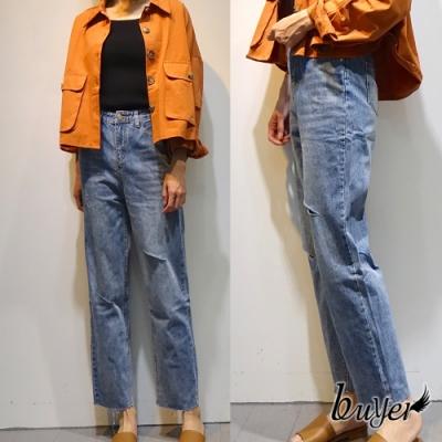 【buyer 白鵝】厚磅破壞男友褲 牛仔褲(藍色)
