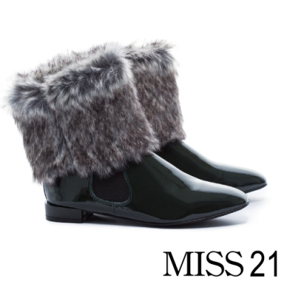低跟鞋 MISS 21 復古極簡派保暖兩穿式方頭低跟鞋-綠