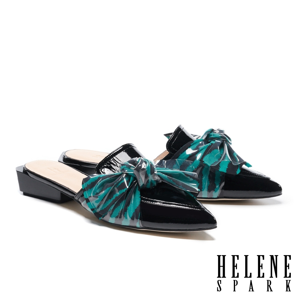 穆勒鞋 HELENE SPARK 時髦品味大蝴蝶結尖頭穆勒低跟鞋-黑