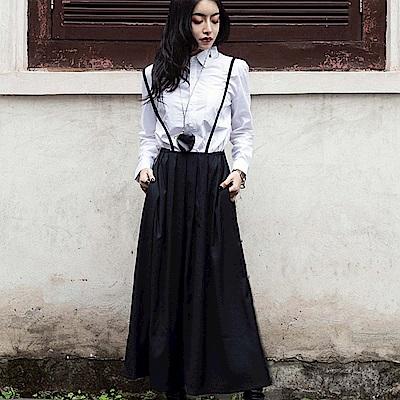 設計所在Style-暗黑風開衩黑色百褶中長裙背帶裙