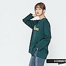 H:CONNECT 韓國品牌 女裝-側開岔隨性印字長T-shirt-綠