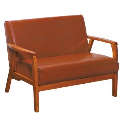 文創集 麥格西時尚皮革實木二人座沙發椅(二色可選)-115x80x80cm免組