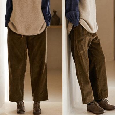 4.5坑粗條燈蕊絨加厚寬管休閒褲-設計所在