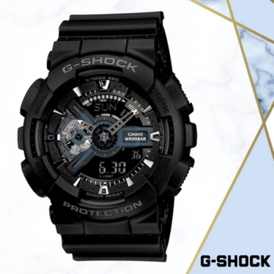 CASIO卡西歐G-SHOCK運動雙顯錶(GA-110-1B)黑色/55mm