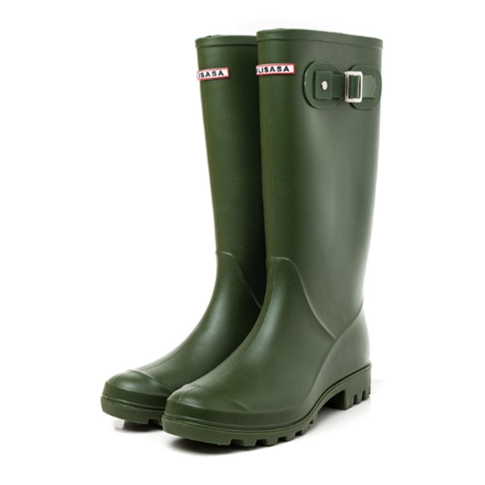 韓國KW美鞋館-輕奢女神防水扣環輕量雨鞋雨靴 綠