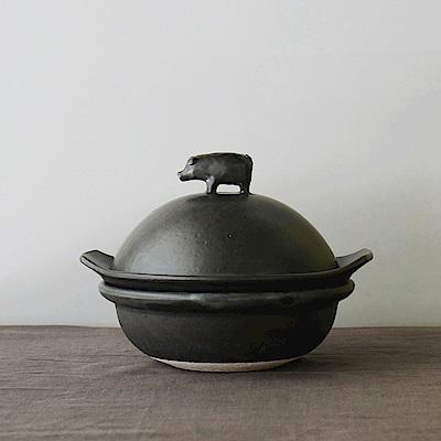 【日本牧田亮】美濃燒豚型土鍋(附蒸盤)