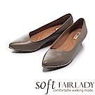 Fair Lady Soft芯太軟 尖頭素色時尚千鳥格紋楔型鞋 灰