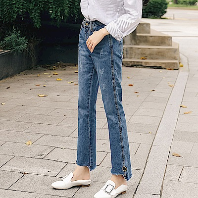 ALLK 爪痕分喇叭牛仔褲 藍色(尺寸27-31腰)