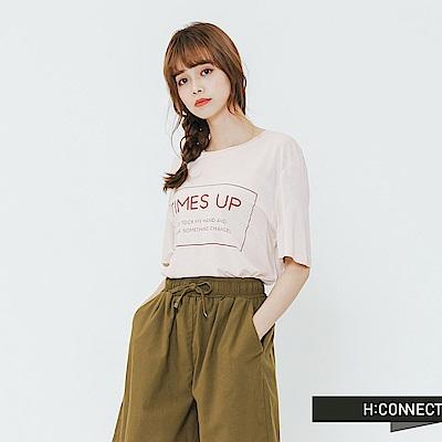 H:CONNECT 韓國品牌 女裝-情境框文字T-shirt-卡其