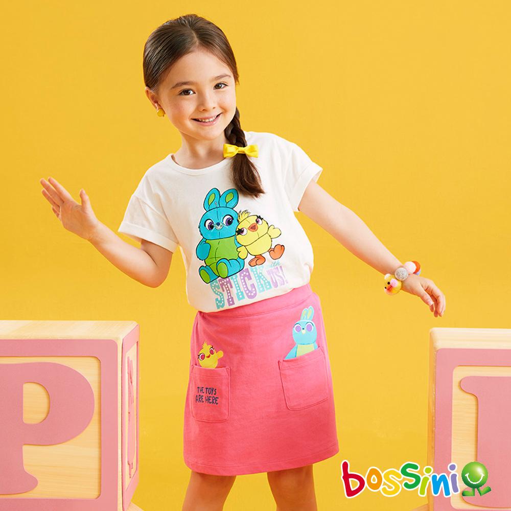 bossini女童-玩具總動員印花T恤灰白