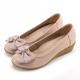 MAGY 甜美混搭新風貌 蝴蝶結戒指釦環造型真皮楔型鞋-粉色 product thumbnail 1
