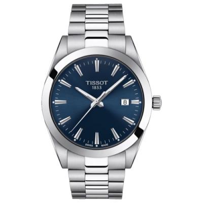 TISSOT 天梭Gentleman 紳士石英手錶-藍/40mm T1274101104100