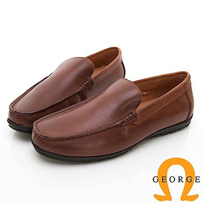 【GEORGE 喬治皮鞋】舒適系列  舒適直套式休閒鞋-棕色