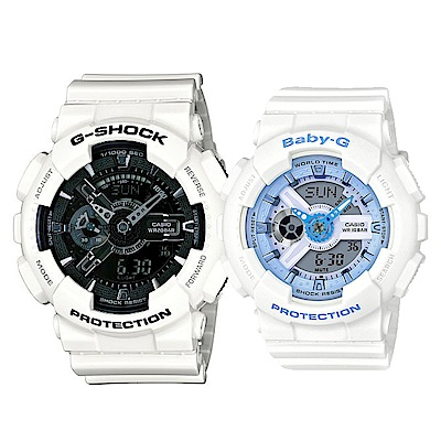 CASIO 多層次機械感設計X粉嫩甜心情侶錶(GA-110GW-7+BA-110BE-7)