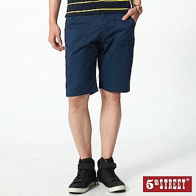 5th STREET 潮系列不對稱後袋休閒五分褲-男-丈青